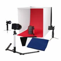 Caruba tárgysátor 60x60cm, fényképezőgép állvány és lámpa szett