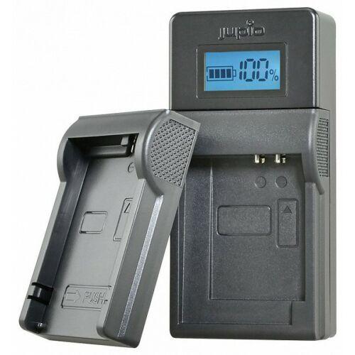 Jupio USB akkumulátor töltő Panasonic, Pentax, Fujifilm és Nikon akkumulátorokhoz LCD kijelzővel
